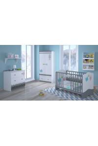 Детская комната Polini Basic Монстрики: кроватка детская+комод+шкаф двухсекционный
