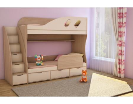 Кровать детская двухъярусная Детка  ПОЛКА В ПОДАРОК