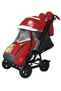 Санки-коляска SNOW GALAXY City-2  на больших колёсах Ева+сумка+варежки