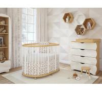 Овальная кроватка TreeO Natural White