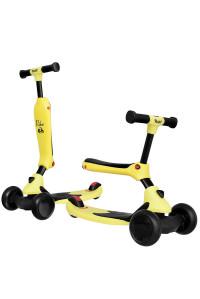 Беговел-самокат Rant Rider со светящимися колесами желтый