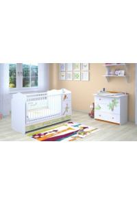 Детская комната Polini Basic Джунгли:кроватка-трансформер+комод