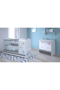 Детская комната Polini Basic Монстрики: кроватка-трансформер+комод