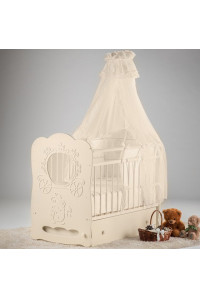 Кроватка детская Карета маятник поперечный с ящик